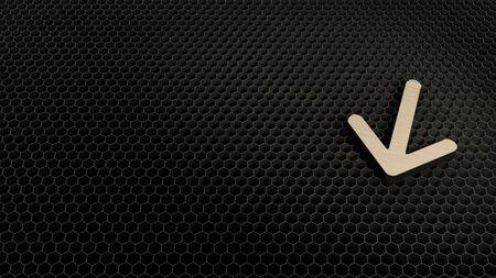 laser cut plywood 3d symbol of down arrow render on metal honeycomb inside laser engraving machine background