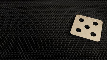 laser cut plywood 3d symbol of dice render on metal honeycomb inside laser engraving machine background