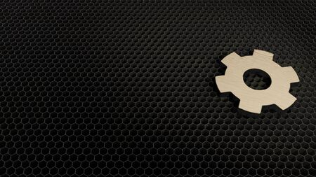 laser cut plywood 3d symbol of cogwheel render on metal honeycomb inside laser engraving machine background
