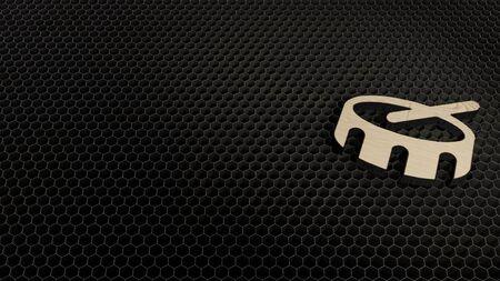 laser cut plywood 3d symbol of drum render on metal honeycomb inside laser engraving machine background