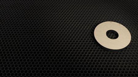 laser cut plywood 3d symbol of dot circle render on metal honeycomb inside laser engraving machine background