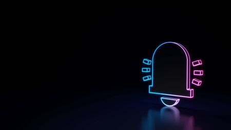 3d techno neon purple blue glowing outline wireframe symbol of bell with sound waves isolated on black background with glossy reflection on floor 免版税图像