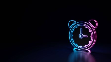3d techno neon purple blue glowing outline wireframe symbol of alarm clock with two bells and thin clock hands and circle around isolated on black background with glossy reflection on floor