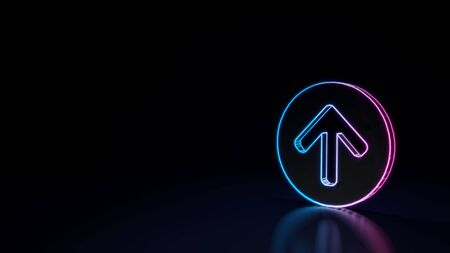 3d techno neon purple blue glowing outline wireframe symbol of open down rounded arrow in circle isolated on black background with glossy reflection on floor