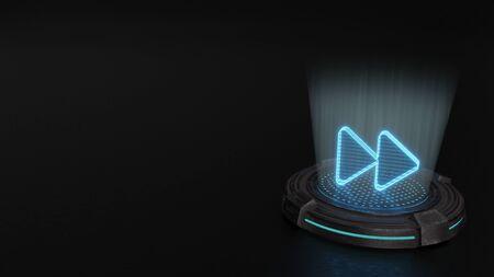 Rayas azules láser digital símbolo de holograma 3d de dos flechas a la derecha una al lado de la otra render sobre fondo de almohadilla de ciencia ficción de metal antiguo