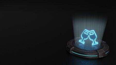 blue stripes digital laser 3d hologram symbol of two wine glass in cheers gesture render on old metal sci-fi pad background
