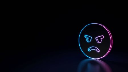 3d techno neon purple blue glowing outline wireframe circle angry emoticon isolated on black background with glossy reflection on floor