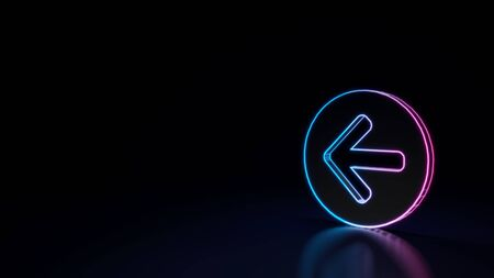 3d techno neon purple blue glowing outline wireframe symbol of open left rounded arrow in circle isolated on black background with glossy reflection on floor