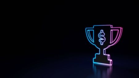 3d techno neon purple blue glowing outline wireframe symbol of award cup with dollar sign isolated on black background with glossy reflection on floor