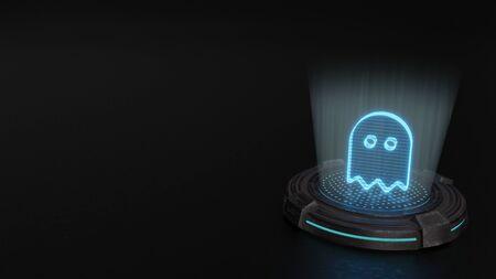 blue stripes digital laser 3d hologram symbol of golliwog render on old metal sci-fi pad background Standard-Bild