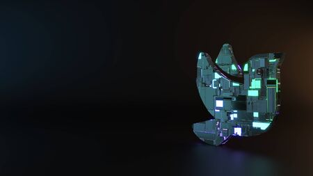 science fiction metal neon blue violet glowing symbol of bird from profile render machinery with blurry reflection on floor