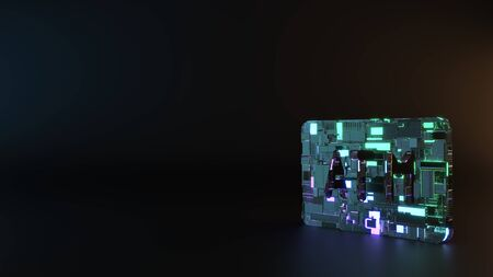 science fiction metal neon blue violet glowing symbol of atm sign render machinery with blurry reflection on floor