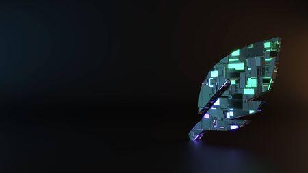 La ciencia ficción de neón de metal azul violeta brillante símbolo de afilar la maquinaria de procesamiento de plumas con reflejo borroso en el piso