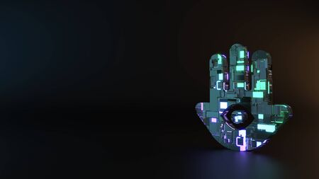 science fiction metal neon blue violet glowing symbol of hand with eye inside render machinery with blurry reflection on floor Banco de Imagens - 128584433