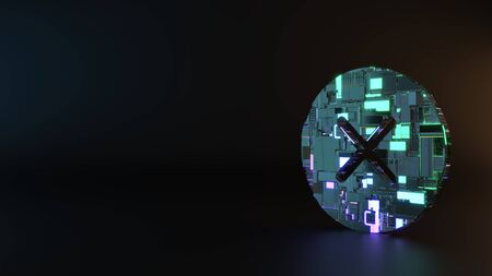 science fiction metal neon blue violet glowing symbol of cancel cross in circle render machinery with blurry reflection on floor Banque d'images