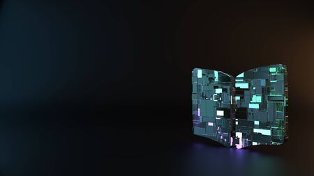 science fiction metal neon blue violet glowing symbol of book open render machinery with blurry reflection on floor