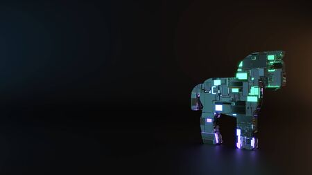 science fiction metal neon blue violet glowing symbol of horse from profile render machinery with blurry reflection on floor