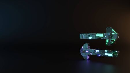 science fiction metal neon blue violet glowing symbol of exchange left and right arrows render machinery with blurry reflection on floor