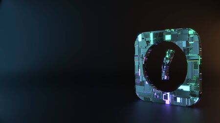 science fiction metal neon blue violet glowing symbol of rectangle alarm clock render machinery with blurry reflection on floor