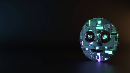 science fiction metal neon blue violet glowing symbol of flushed emoticon render machinery with blurry reflection on floor 版權商用圖片