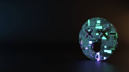 science fiction metal neon blue violet glowing symbol of dizzy emoticon render machinery with blurry reflection on floor Banco de Imagens - 128584975