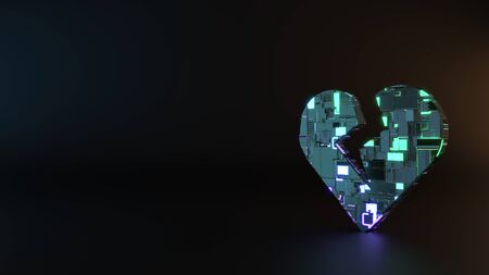 science fiction metal neon blue violet glowing symbol of heart with crack render machinery with blurry reflection on floor