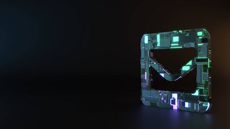 science fiction metal neon blue violet glowing symbol of envelope in square render machinery with blurry reflection on floor