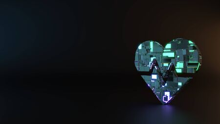 science fiction metal neon blue violet glowing symbol of heart with pulse curve render machinery with blurry reflection on floor