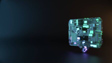 science fiction metal neon blue violet glowing symbol of rectangular chat bubble render machinery with blurry reflection on floor