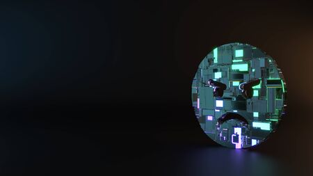 science fiction metal neon blue violet glowing circle angry emoticon render machinery with blurry reflection on floor