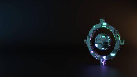 Fantascienza metallo neon blu violetto incandescente simbolo di gps indicatore fisso macchine di rendering con riflesso sfocato sul pavimento