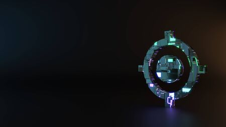science fiction metal neon blue violet glowing symbol of gps fixed indicator render machinery with blurry reflection on floor