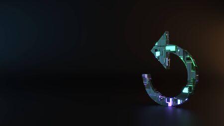 Ciencia ficción metal neón azul violeta brillante en sentido contrario a las agujas del reloj símbolo de flecha de actualización renderizar maquinaria con reflejo borroso en el piso Foto de archivo