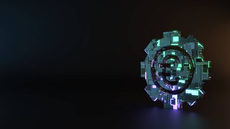 science fiction metal neon blue violet glowing symbol of gear with euro symbol render machinery with blurry reflection on floor