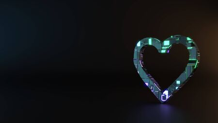 science fiction metal neon blue violet glowing symbol of heart render machinery with blurry reflection on floor