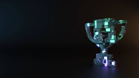 science fiction metal neon blue violet glowing symbol of award cup with dollar sign render machinery with blurry reflection on floor