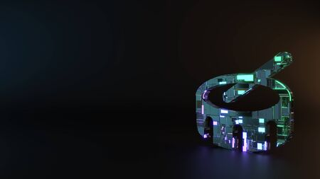 science fiction metal neon blue violet glowing symbol of drum and stick render machinery with blurry reflection on floor