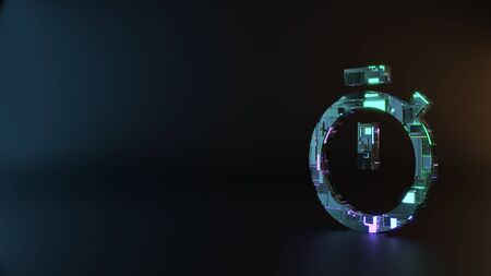 science fiction metal neon blue violet glowing symbol of stopwatch render machinery with blurry reflection on floor Stock Photo