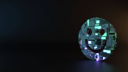 science fiction metal neon blue violet glowing symbol of smiling emoticon render machinery with blurry reflection on floor Banco de Imagens - 128585271