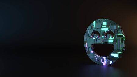 science fiction metal neon blue violet glowing symbol of goofy emoticon  render machinery with blurry reflection on floor Banco de Imagens - 128585094