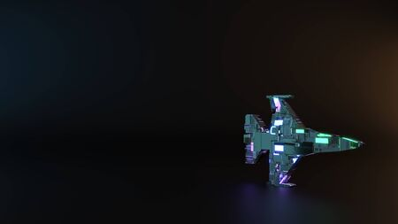 science fiction metal neon blue violet glowing symbol of fighting falcon fighter jet render machinery with blurry reflection on floor Imagens