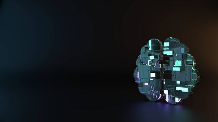 science fiction metal neon blue violet glowing symbol of brain hemisphere render machinery with blurry reflection on floor