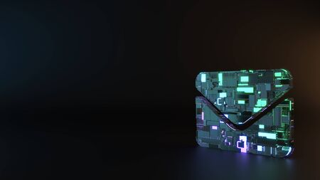 science fiction metal neon blue violet glowing symbol of post envelope render machinery with blurry reflection on floor Imagens
