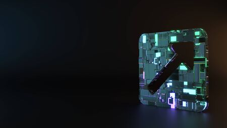science fiction metal neon blue violet glowing symbol of square with up arrow inside  render machinery with blurry reflection on floor Stock fotó