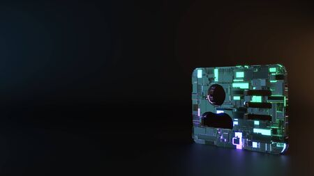 science fiction metal neon blue violet glowing inverted symbol of address card with person and lines render machinery with blurry reflection on floor Imagens