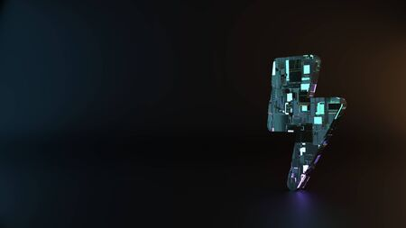 science fiction metal neon blue violet glowing symbol of bolt of lightning render machinery with blurry reflection on floor Banco de Imagens