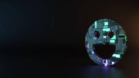 science fiction metal neon blue violet glowing symbol of joyful emoticon render machinery with blurry reflection on floor Banco de Imagens