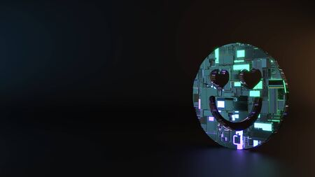 science fiction metal neon blue violet glowing symbol of in love emoticon render machinery with blurry reflection on floor
