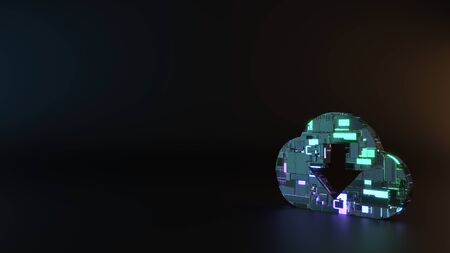 science fiction metal neon blue violet glowing symbol of cloud download with down arrow render machinery with blurry reflection on floor