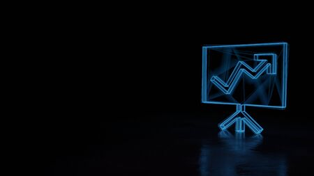3d techno neon blue glowing wireframe with glitches symbol of presentation board with arrow chart isolated on black background with distorted reflection on floor